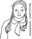 a young and chubby lady with... | Shutterstock .eps vector #1409707706