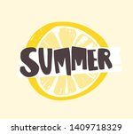 summer word written with funky... | Shutterstock . vector #1409718329