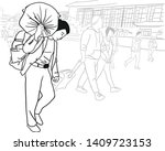 the man is carrying a heavy... | Shutterstock .eps vector #1409723153