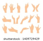 set of hands showing different... | Shutterstock .eps vector #1409729429