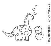cute cartoon dinosaur with baby ... | Shutterstock .eps vector #1409746226