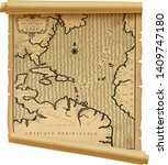 old geographic map of atlantic... | Shutterstock .eps vector #1409747180