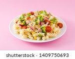 pasta salad with vegetables on...   Shutterstock . vector #1409750693