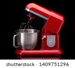 red stylish mixer for cooking.... | Shutterstock . vector #1409751296