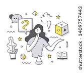 faq doodle illustration.... | Shutterstock .eps vector #1409757443
