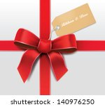 satin red ribbon with card | Shutterstock .eps vector #140976250