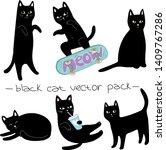 Stock vector black cats vector set funny cartoon 1409767286