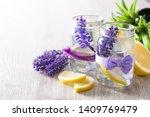 lavender lemonade drink in jar...   Shutterstock . vector #1409769479