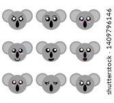 collection of koala faces... | Shutterstock . vector #1409796146