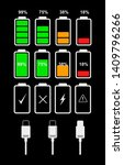 set of vector icons of battery...