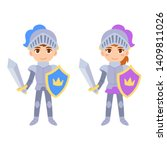 cute cartoon medieval knight... | Shutterstock .eps vector #1409811026