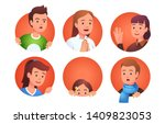 collection of character faces... | Shutterstock .eps vector #1409823053