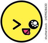flat kawaii emoji face. cute... | Shutterstock .eps vector #1409828630