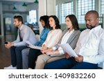 group of job applicants sitting ... | Shutterstock . vector #1409832260