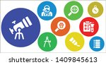 discovery icon set. 9 filled... | Shutterstock .eps vector #1409845613