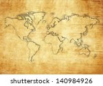world map on papyrus paper   Shutterstock . vector #140984926