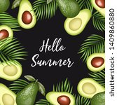 hello summer quote. tropical... | Shutterstock .eps vector #1409860880