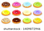 tasty donuts with a color glaze ... | Shutterstock .eps vector #1409872946