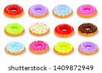 donuts with a color glaze ... | Shutterstock .eps vector #1409872949