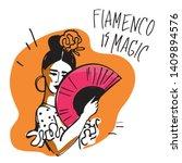 Flamenco Dancer With A Fan In...