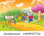 Stock photo children s fairy tales turtle with rabbit 1409937710