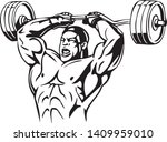 weightlift workout at the gym... | Shutterstock .eps vector #1409959010