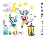 Watercolor Set With Two Fairies ...