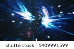 travel through a wormhole... | Shutterstock . vector #1409991599