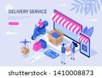 delivery and shopping concept.... | Shutterstock .eps vector #1410008873