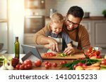 happy family father with son ... | Shutterstock . vector #1410015233