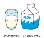 milk carton box with glass... | Shutterstock .eps vector #1410024959