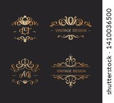 set of wedding logos in vintage ... | Shutterstock .eps vector #1410036500
