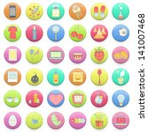 collection of colorful badges