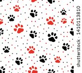 paw print seamless. traces of... | Shutterstock .eps vector #1410113810