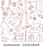 set of sewing illustrations.... | Shutterstock .eps vector #1410118169