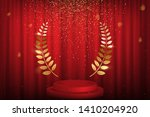 red curtain  laurel twigs... | Shutterstock .eps vector #1410204920