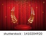 Red Curtain  Laurel Twigs...