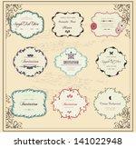 set of old vintage labels | Shutterstock .eps vector #141022948
