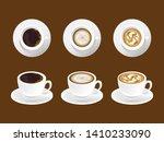 cafe mock up. coffee art latte... | Shutterstock .eps vector #1410233090