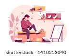 flat young man trying measure... | Shutterstock .eps vector #1410253040
