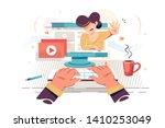 flat hand man watching video...   Shutterstock .eps vector #1410253049