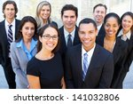 Stock photo portrait of business team outside office 141032806