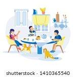 children have breakfast by... | Shutterstock .eps vector #1410365540