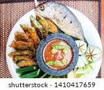 Stock photo nam prik pla tho thai food deep fried mackarel with shrimp paste sauce served with vegetable 1410417659