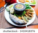 Stock photo nam prik pla tho thai food deep fried mackarel with shrimp paste sauce served with vegetable 1410418376