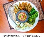 Stock photo nam prik pla tho thai food deep fried mackarel with shrimp paste sauce served with vegetable 1410418379