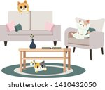 a group of character cute cats... | Shutterstock .eps vector #1410432050