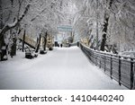 winter park with trees cowered... | Shutterstock . vector #1410440240