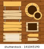 signboards and wooden frames on ... | Shutterstock .eps vector #141045190