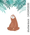 cute sloth sitting and smiles ... | Shutterstock .eps vector #1410452030